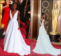 Wholesale 2014 th Oscar Lupita Nyong o Empire Gown Light Blue A line Sexy Deep V Long Train Red Carpet Evening Dresses Celebrities Gowns EVE466
