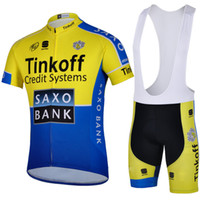 Wholesale new arrival Tinkoff saxo team cycling jersey outdoor sport wear short sleeve yellow and blue bicycle clothing