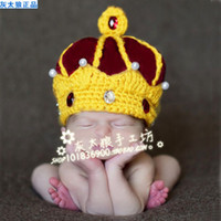 Wholesale king Crown Crystal newborn handmade crochet Toddler infant baby boy prince Beanie caps photography props hats Costume month