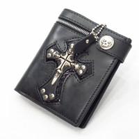 Wholesale 2014 new men wallets black punk rock purses rivet cross skull wallets men stylish men leather wallets