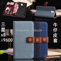 Wholesale Jeans Flip Wallet Case Card Holder With Card Slot Case Cover With Stand For Samsung Galaxy S5 I9600 I9500X SV004