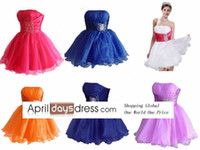 Reference Images Chiffon& Taft& Satin Strapless Custom madeReally Cheap Strapless Short Organza Beads Prom Dresses Homecoming Graduation Dresses Under $50 Fashion Real Images