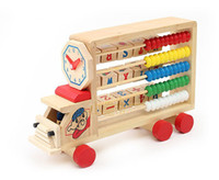 Wholesale Multifunction Learning Car Calculation Shelf Wooden Education Toys Baby Toys Toddler Learning Toys for Kids Children gift