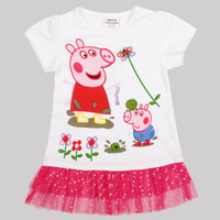 Wholesale Nova m y fashion baby girls George Peppa pig summer T shirts Kids cartoon merchandise spandex blingbling white tunic tops