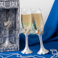 Wholesale Double Heart Champagne Toasting Flutes in Gift Box for Wedding Ceremony Favors Party Stuff Supplies New