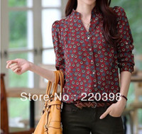 Women 100% Linen Button 2013 High Quality autumn tops for woman dudalina woman Floral Chiffon shirts Tops Shirt Long Sleeve Tops Shirt M-XL 2103