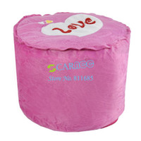 Wholesale New Pink Love Heart Villus Inflatable Stool Pouf Chair Seat Bedroom