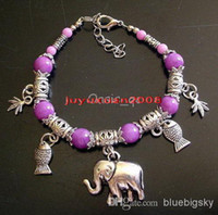 Wedding Bracelets Agate Jade Wholesale - 10 PCS Lovely JEWELRY TIBET SILVER Purple Jade ROUND BEADS ELEPHANT PENDANT BRACELET