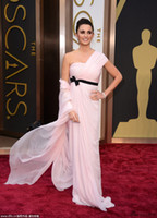 Reference Images One-Shoulder Chiffon Penelope Cruz one shoulder pink black belt evening dresses Greek goddess Celebrity red carpet prom dress formal party gowns 86th Oscar 2014
