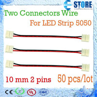 Wholesale 10mm pin Two Connectors Wire Adapter For SMD LED Strip Single Color No Need Soldering wu