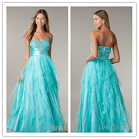 Reference Images Sweetheart Tulle QM-2014 New Princess Sweet 16 Girls Ball Gown Prom Dresses Aqua Sweetheart Crsytal Beads Ribbon Empire Ruffles Special Occasion Gowns
