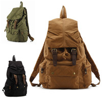 Wholesale Men s Vintage Canvas Leather Hiking Travel Military Bag canvas backpack bag fashion men travel bags canvas backpacks for college