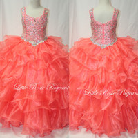 Reference Images Girl Beads 2014 Stunning Tank Strap Beaded Organza Layered Ball Gown Pageant Dress Coral Little Rosie Girls Pageant Gowns LR2008