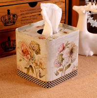 Wholesale Europe style Iron Facial paper case Flower design Tissue Box Metal square Napkin Holder Flower Bottle