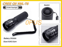 Wholesale Ultrafire Lumens Q5 Zoomable CREE XM L AAA or rechargeable Zoom Torch T6 flashlight torch bicyle LED cree xml t6