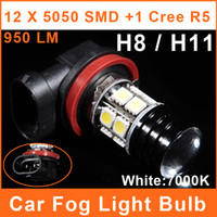Wholesale H8 H11 LED Car W High Power Foglights SMD CREE R5 Projector Lens V White Lamp Auto Headlight Bulbs FL0097