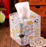Wholesale new Candy design Square shape Tissue Box Metal Facial Paper Case Napkin Holder new Fashion Sugar printing