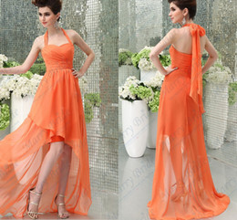 Wholesale Cheap Low high Halter Neck Bridesmaid Dresses Advanced Chiffon Beach All Colors Available Spring Summer A Line Long Formal Gowns CGL118