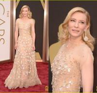 Wholesale 2014 Collection th Oscar Awards Celebrity Dresses Cate Bllanchett Red Carpet Beaded Crystal Sheer Short Sleeve Prom Dresses