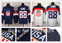 Cheap Cheap White 88 Patrick Kane USA Jersey 2014 Olympic Sochi Team USA Ice Hockey Jersey American Patrick Kane Jersey Blue