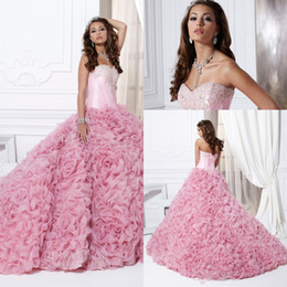Wholesale Custom Made Sweetheart Floor Length Pink Handmade Flower Organza Quinceanera Dresses Beaded Appliques Popular Prom Dresses Pageant