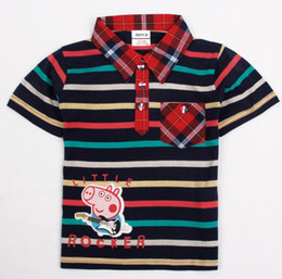 Wholesale New Arrival Peppa Pig George Pig Little Rocker T Shirt Cotton Baby Boys Fashion Striped Short Sleeve Cartoon Shirts Top