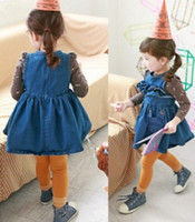 TuTu Spring / Autumn Beach 4pc lot 2014 New Fashion Sleeveless Ruffles Chest Baby Girls Denim Vest Dress Children's Dresses Blue