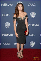 Wholesale 71st Golden Globe Nina Dobrev Evening Dress Beaded Cap Sleeves Ruched Knee Length Satin Celebrity Dress Unique Prom Dress MC058
