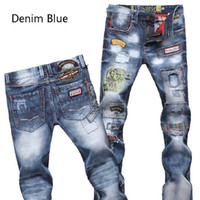 Wholesale Boy s Men Tide Washed Cotton Trousers Men s Slim Jeans Fashion Hole Jeans R69 salebags