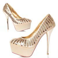Wholesale New Fashion Women High Heels Platform Round Toe Pumps Sequined Sexy Stilettos Ivory Bridal Wedding Shoes