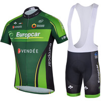 Wholesale new fashion green Europcar team cycling jersey men sport wear outdoor road bicycle clothing short sleeve shirt