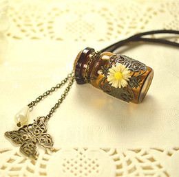 Wholesale Creative Flower Mosaic MINI Glass Essential Oil Bottle Aroma Perfume Pendant Modern Necklace Jewelry Women Charm Necklace DC239