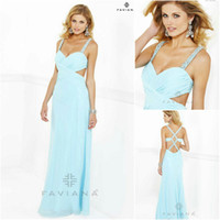 Reference Images Spaghetti Straps Chiffon 2014 Aqua Blue Sheath Prom Dresses Chiffon Spaghetti Straps Criss Cross Back Beaded Sequin Ruched Party Dresses Faviana Style 7119