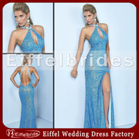 Wholesale 2014 Sexy Mermaid Prom Dresses with Shiny Beaded Halter and Glamorous Open Low Back High Side Slit Bling Bling Sequined Formal Evening Gowns