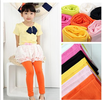Leggings & Tights Girl Spring / Autumn Fancy Girls Korean Pure Cotton Solid Color Leggings Children Clothing Candy Colour Tights 2014 Spring Kids Clothes Skinny Pants D2230
