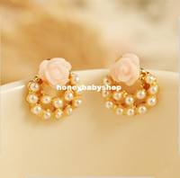 Wholesale South Korea imported fashion OL elegant pearl earrings rose flower earrings factory direct purchase two dollar stores