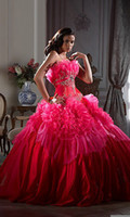 Ball Gown Model Pictures Scalloped Real Image Attractive Empire Scalloped Rose Red Ball Gown Wedding Dresses Bling Bling Crystal Beads Ruffle Lace-Up Sleeveless Sweep Train