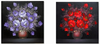 Wholesale Hot selling Handcraft Modern oil painting on canvas Vase of flowers no frame