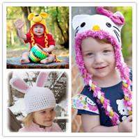 achat en gros de rose ours arc-1pcs / lot main Ange Kitty Hat avec Pink Bow Honey Bear chapeau oreilles de lapin Chapeau tricoté Crochet bébé A
