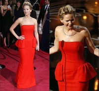 Reference Images Strapless Chiffon 2014 86th Oscar Jennifer Lawrence Strapless Dress Peplum Red Sheath Long Custom Made Pageant Evening Dress Formal Party Gowns EVE470