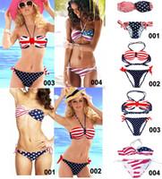 uk flag - Women s Star Spangled Bikini Union Jack Flag Swimwear UK Stars Stripes Flag Twist Padded Push Up Flag Halter Bathing Suit Flag Bikini