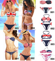 Wholesale Women s Star Spangled Bikini Union Jack Flag Swimwear UK Stars Stripes Flag Twist Padded Push Up Flag Halter Bathing Suit Flag Bikini