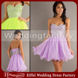 Wholesale 2014 Lilac Homecoming Dresses A Line Sweetheart Sleeveless Short Chiffon Prom Gowns with Beads Crystals and Lace up Back