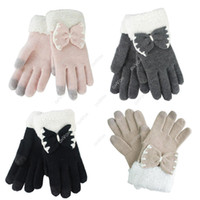 Wholesale S5Q Women Bowknot Gloves Touch Sreen Gloves Keep Your Hands Warm Winter AAACWC
