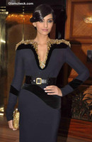 Reference Images V-Neck Elastic Satin Free shipping Celebrity dress Evening dress Sonam-Kapoor-at-Vogue-Beauty-Awards-2013 Long Sleeve Beading Crystal Custom
