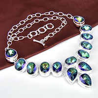 Wholesale Lady Multi Crystal Necklace - Free shipping - 2pcs lot Royal Style 925 silver Multi genuine mystic topaz fashion lady nacklace N0096