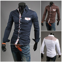2014 Fashion new mens shirts Korea Long sleeve Slim Fit Busi...