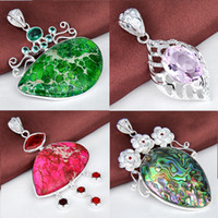 Free Shipping- 925 silver natural stone fashion pendant for ...