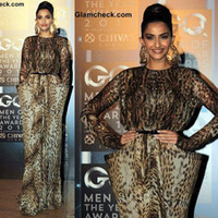 Reference Images Crew Elastic Satin Free shipping Celebrity dress Evening dress Sonam-Kapoor-in--Animal-Print-Gown-at-GQ-Men-of-the-Year-Awards Beads Custom