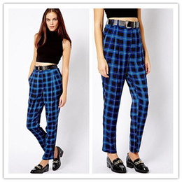 Wholesale Hot Sale New Sping Trendy Slim Casual Pants Womens Thin High Waist Plaid Long Pants A279